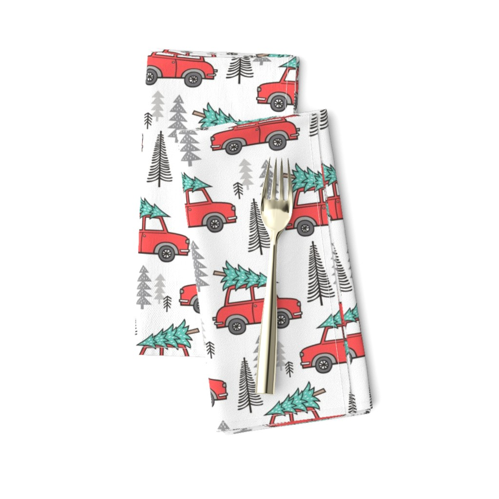 Amarela Dinner Napkins featuring Holiday Christmas Tree Car Woodland Fall on White by caja_design