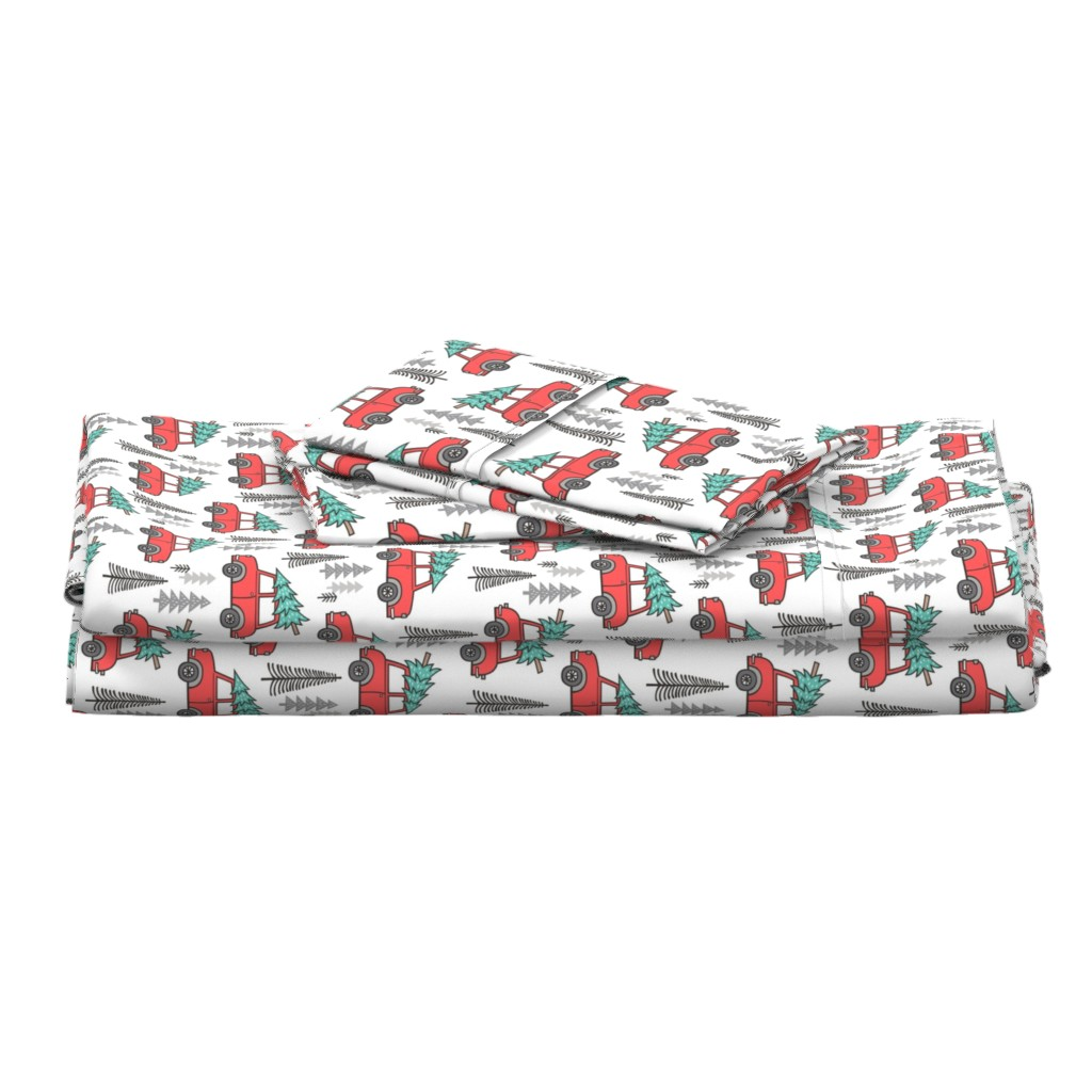 Langshan Full Bed Set featuring Holiday Christmas Tree Car Woodland Fall on White by caja_design