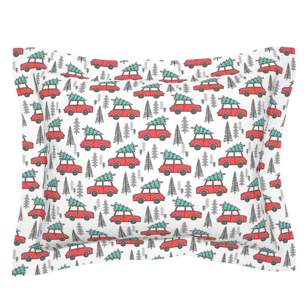 Sebright Pillow Sham featuring Holiday Christmas Tree Car Woodland Fall on White by caja_design
