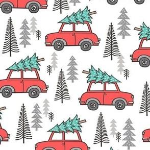 Holiday Christmas Tree Car Woodland Fall on White