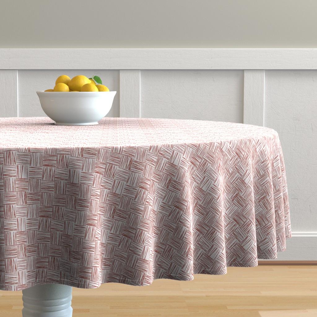Malay Round Tablecloth featuring Chalk Blocks (red) by studiofibonacci