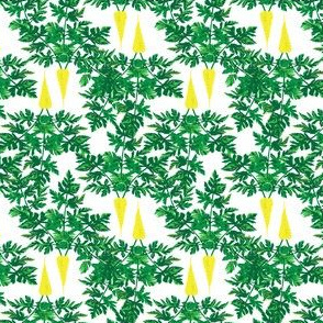 Yellow Carrots green Leaf  || Leaves Foliage Vegetable Garden Modern floral food _Miss Chiff Designs