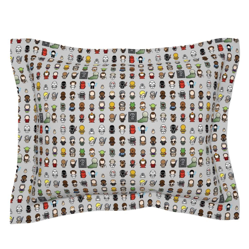 Sebright Pillow Sham featuring A Galaxy Far Far Away - 1in chibi (gray) by studiofibonacci