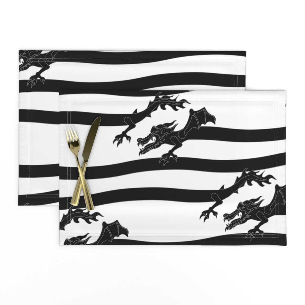 Lamona Cloth Placemats featuring DragonStripe - Black by sunnytime