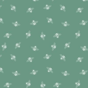 Ditsy Bee, White on Monet Green