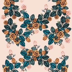 Autumn Roses Trellis, Orange & Peachy Pink