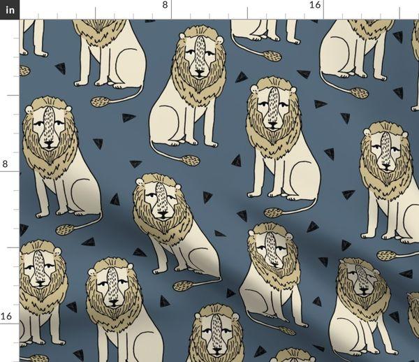 45f9f016 Fabric by the Yard lion // lion safari lions kids safari zoo boys blue and  yellow kids zoo nursery baby boy