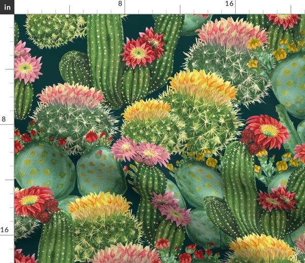 Tropical Cactus Flowers Spoonflower