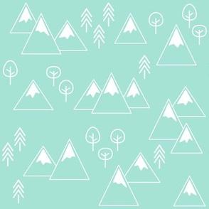PNW - Mountains + Trees White on Mint