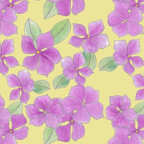 Periwinkle posies on pale yellow
