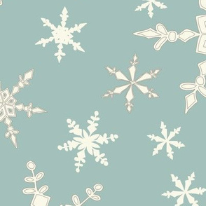 Snowflakes - Large - Ivory, DTurq