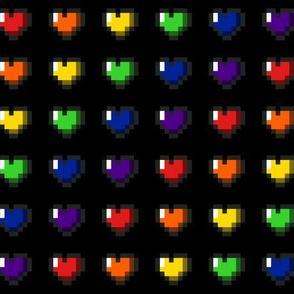 Rainbow 8-Bit Pixel Hearts On Black - 1