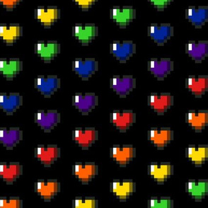 Rainbow 8-Bit Pixel Hearts On Black - 2
