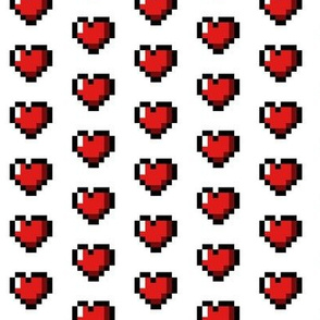Red 8-Bit Pixel Hearts On White (2)