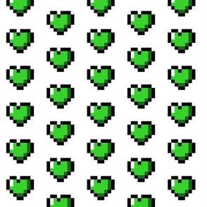 Green 8-Bit Pixel Hearts On White