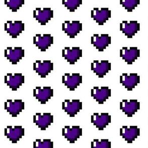 Purple 8-Bit Pixel Hearts On White