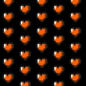 Orange 8-Bit Pixel Hearts On Black
