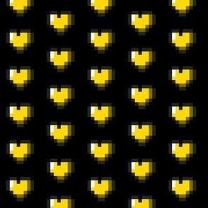 Yellow 8-Bit Pixel Hearts On Black