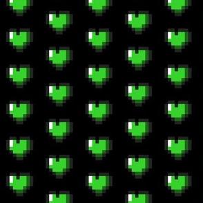 Green 8-Bit Pixel Hearts On Black