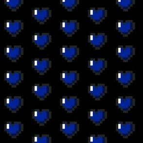 Blue 8-Bit Pixel Hearts On Black