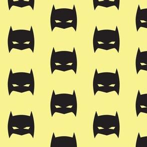 Superhero Bat Mask Black and Pale Yellow