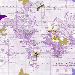 butterflies and historic clips on world map