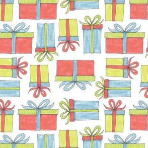 brightly colored gifts