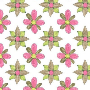pink and green leafy shapes