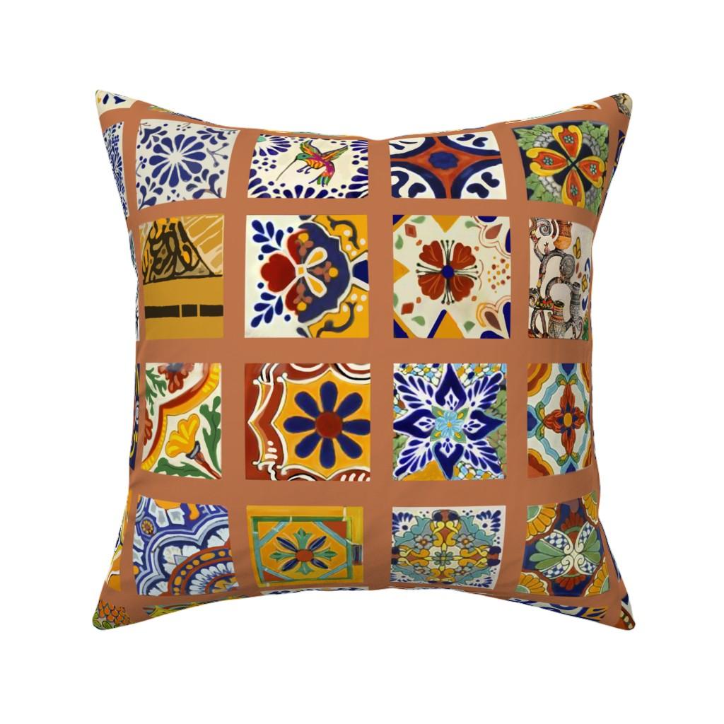 Catalan Throw Pillow featuring Talavera Mexican Tiles by wren_leyland