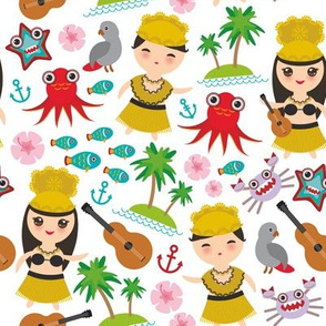 Aloha Hawaii, kawaii Hawaiian boys and girls in traditional costumes, ukulele guitar, palms, sea, fish, octopus, crab, starfish, anchor, flowers on a white background