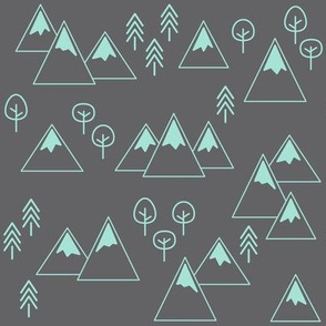 PNW - Mountains & Trees Mint on Charcoal Gray