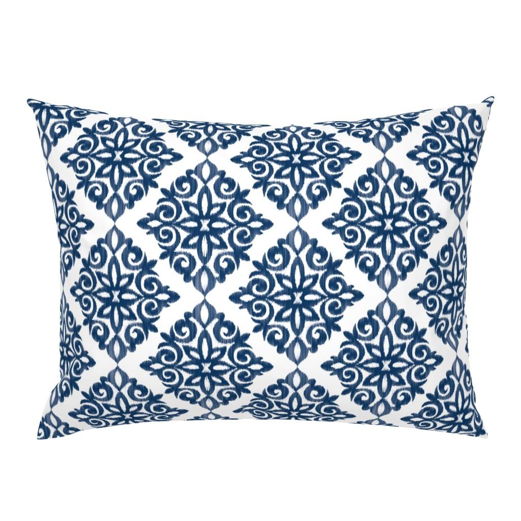 Campine Pillow Sham featuring Modern Damask in Navy by sugarfresh