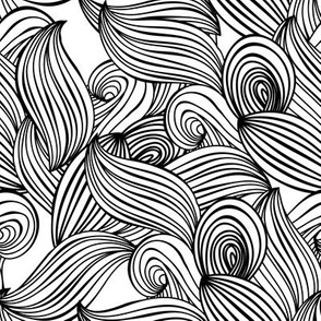 lines, waves, sea, ocean, plants, leaves, Scandinavian pattern abstract black contour on a white background