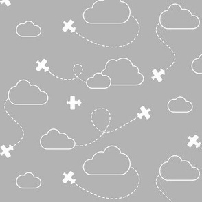 Airplanes in Clouds White on Gray - Small Scale