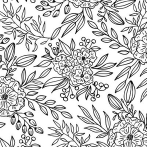 Blooms Outlined // black lines only