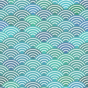 mermaid tail, scales, waves, sea, ocean, abstract geometric japanese asian pettern aqua blue turquoise
