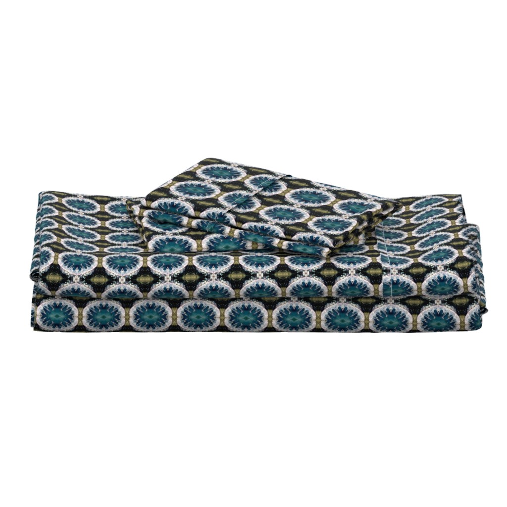 Langshan Full Bed Set featuring Ocean Blues Pattern - Debra Cortese Designs by debracortesedesigns