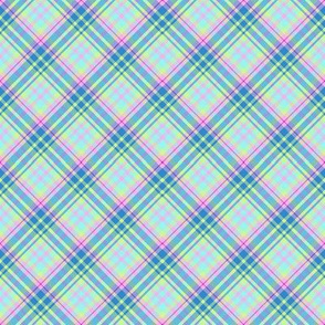 Medium - Pastel Plaid on the Diagonal in Aqua, Powdery Baby  Blue, Minty Green and Pink