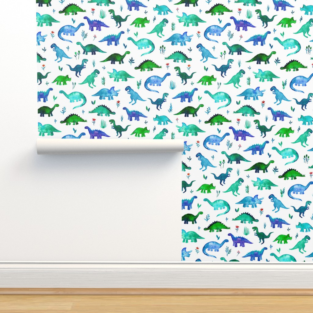 Isobar Durable Wallpaper featuring Tiny Dinos in Blue and Green on White Large Print by micklyn