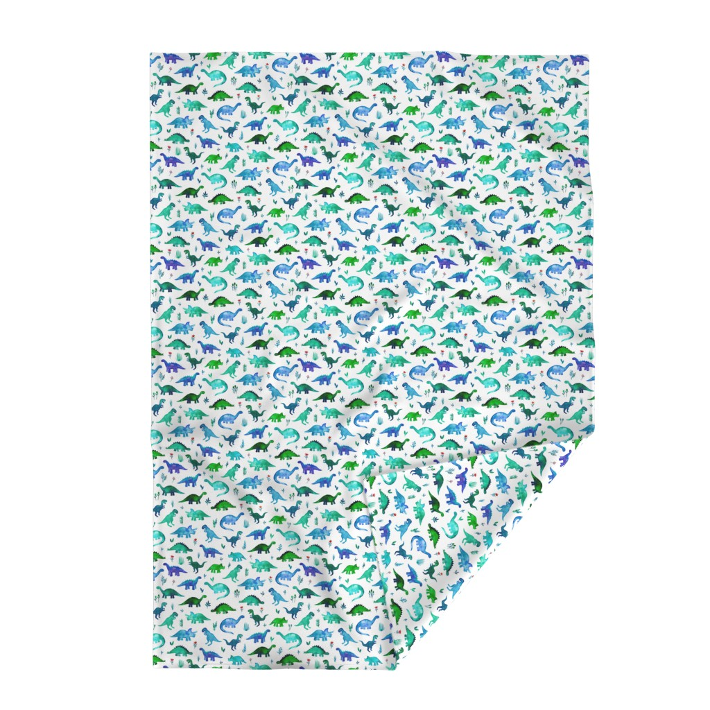 Lakenvelder Throw Blanket featuring Tiny Dinos in Blue and Green on White Large Print by micklyn