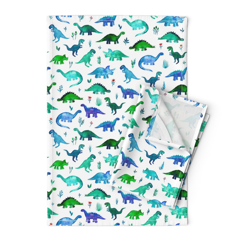 Orpington Tea Towels featuring Tiny Dinos in Blue and Green on White Large Print by micklyn