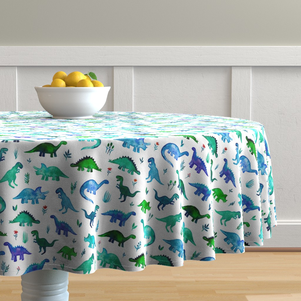 Malay Round Tablecloth featuring Tiny Dinos in Blue and Green on White Large Print by micklyn