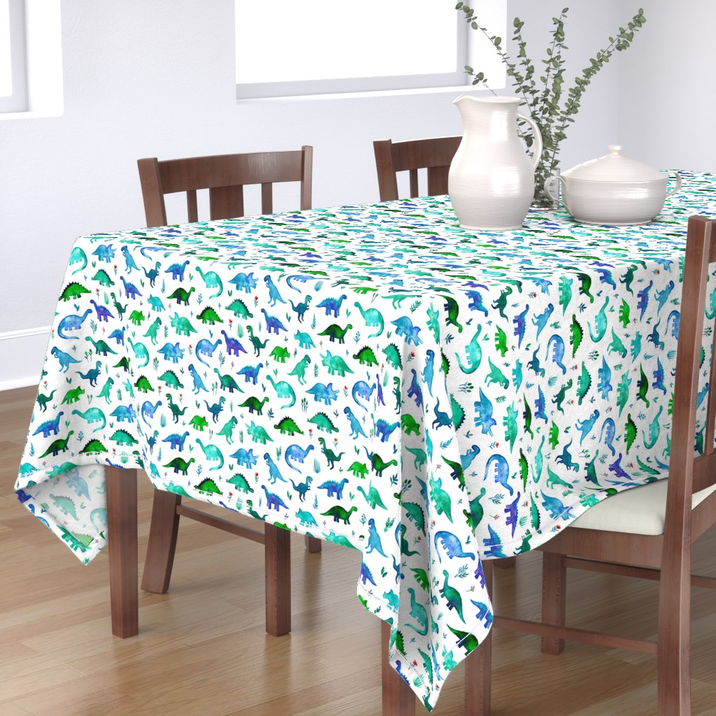 Bantam Rectangular Tablecloth featuring Tiny Dinos in Blue and Green on White Large Print by micklyn