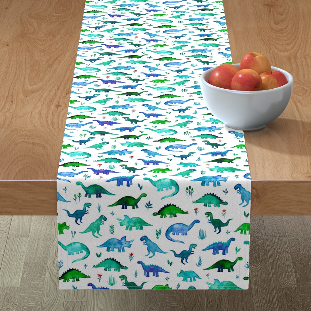 Minorca Table Runner featuring Tiny Dinos in Blue and Green on White Large Print by micklyn