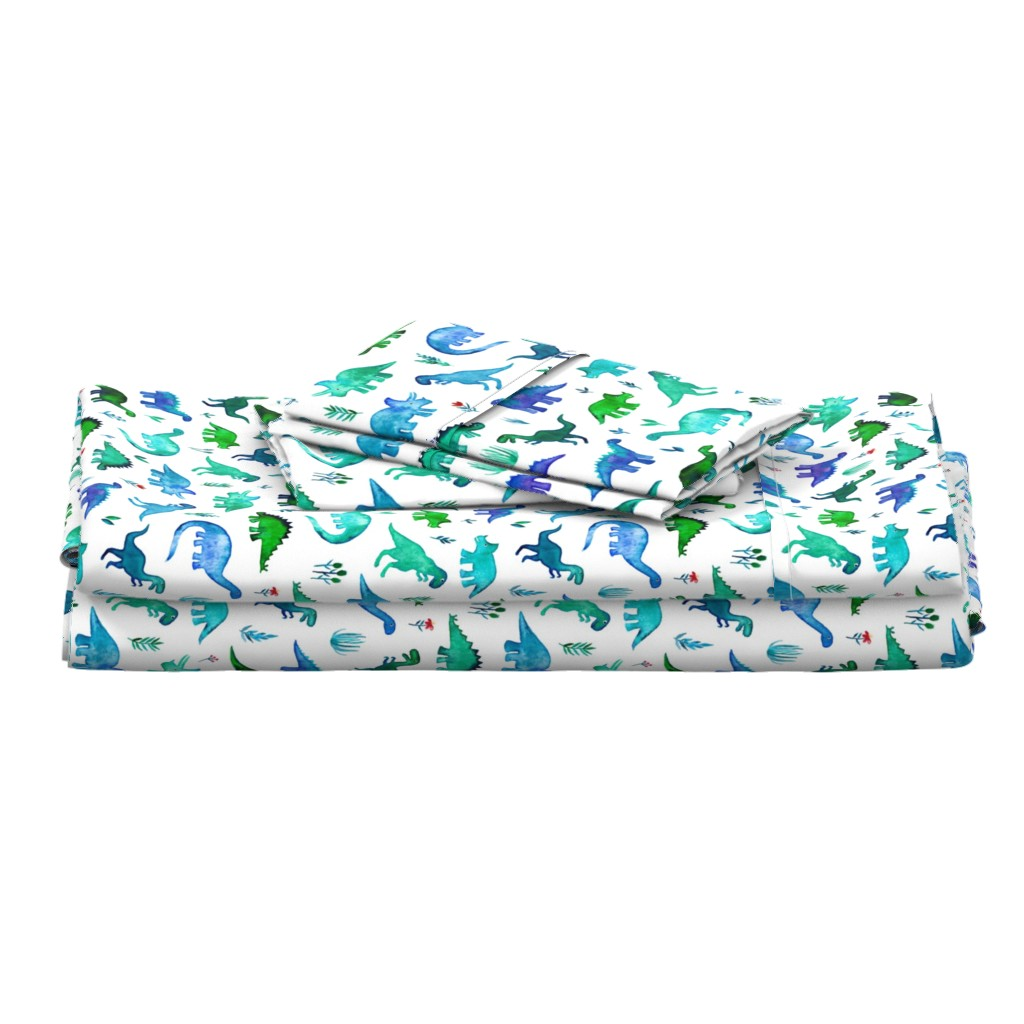 Langshan Full Bed Set featuring Tiny Dinos in Blue and Green on White Large Print by micklyn