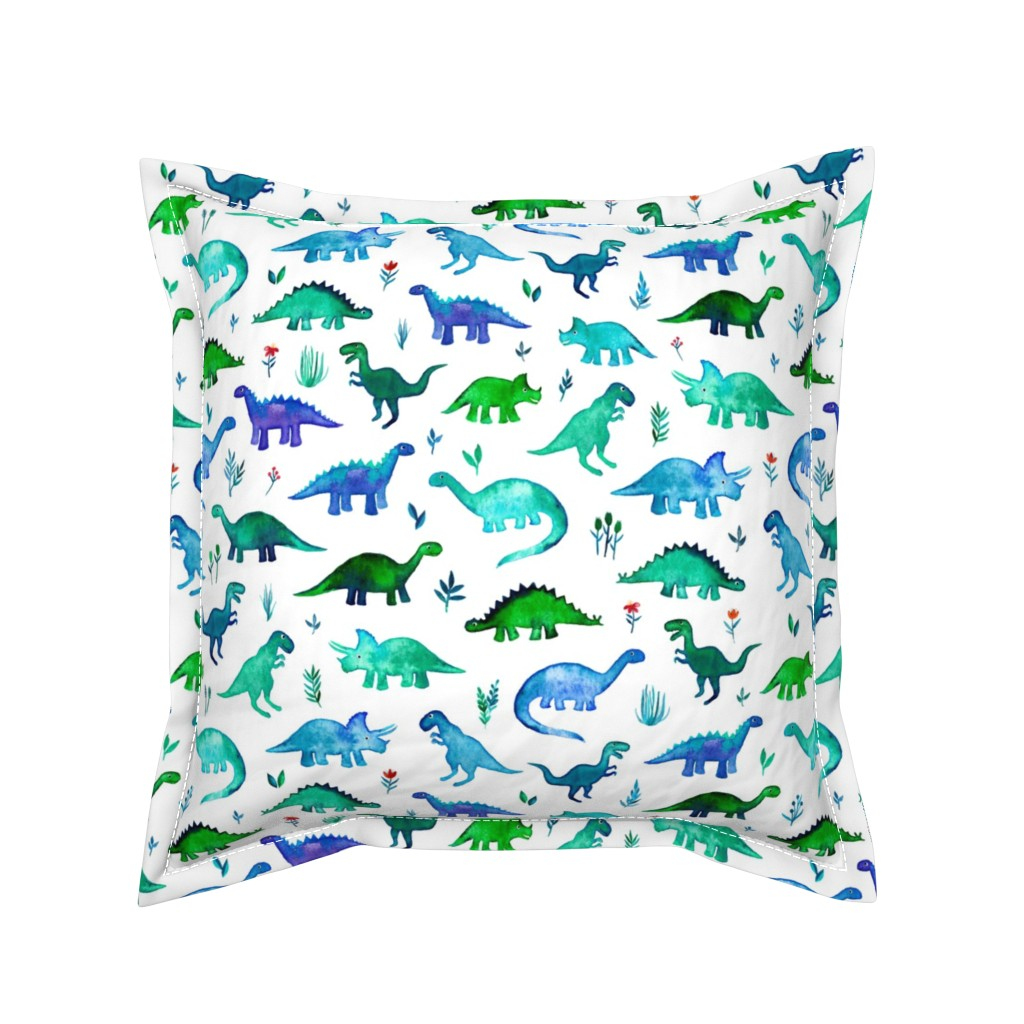 Serama Throw Pillow featuring Tiny Dinos in Blue and Green on White Large Print by micklyn