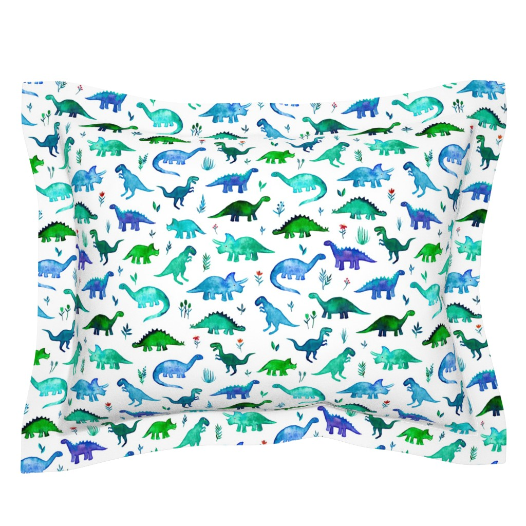 Sebright Pillow Sham featuring Tiny Dinos in Blue and Green on White Large Print by micklyn