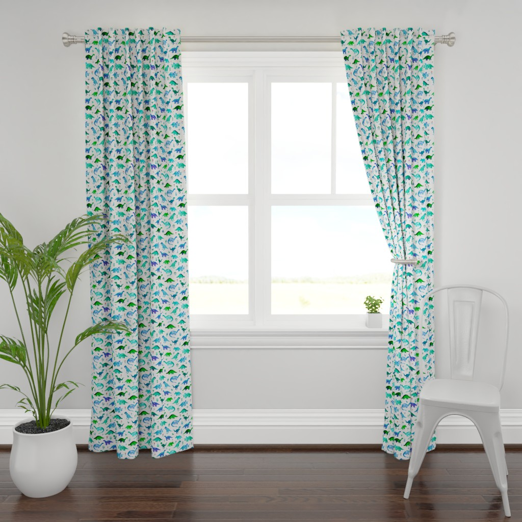 Plymouth Curtain Panel featuring Tiny Dinos in Blue and Green on White Large Print by micklyn
