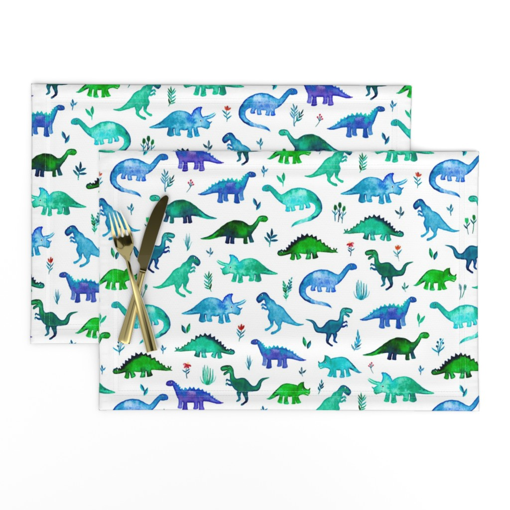Lamona Cloth Placemats featuring Tiny Dinos in Blue and Green on White Large Print by micklyn