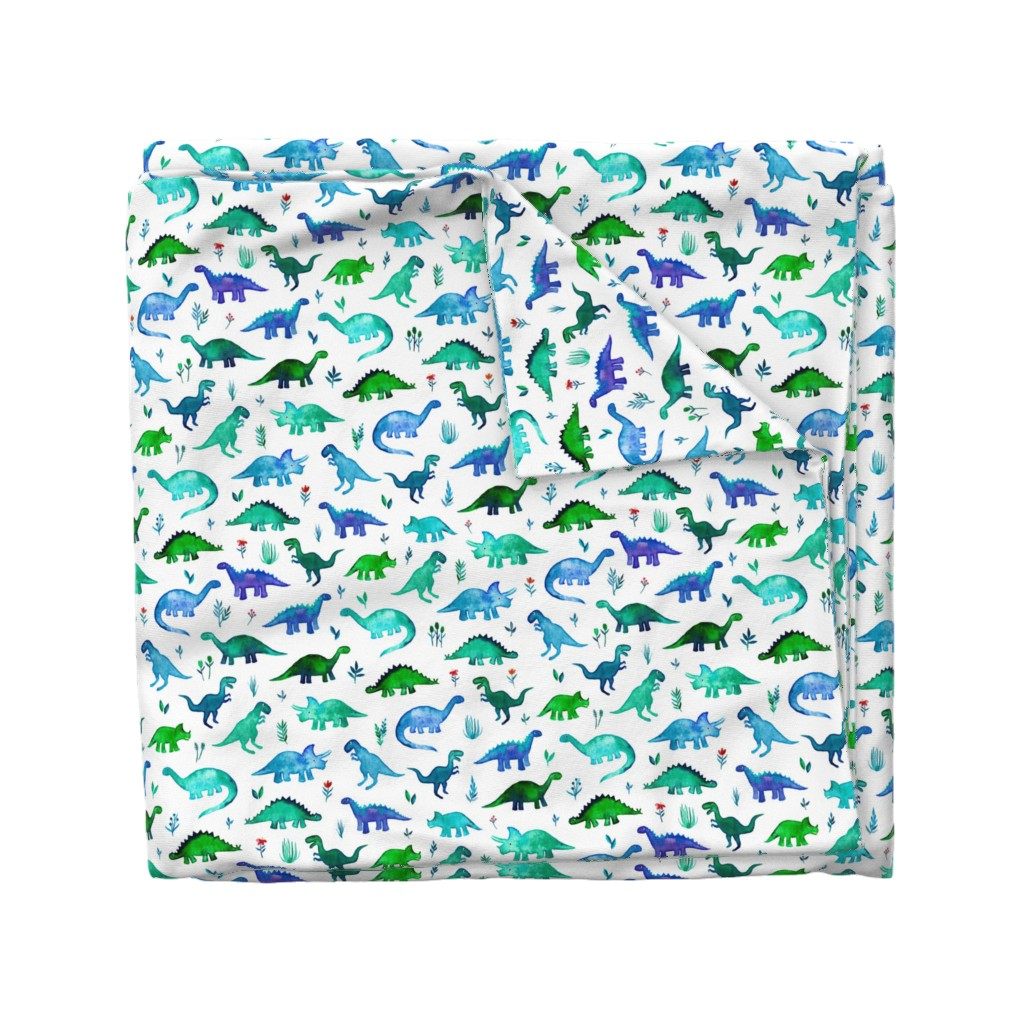 Wyandotte Duvet Cover featuring Tiny Dinos in Blue and Green on White Large Print by micklyn